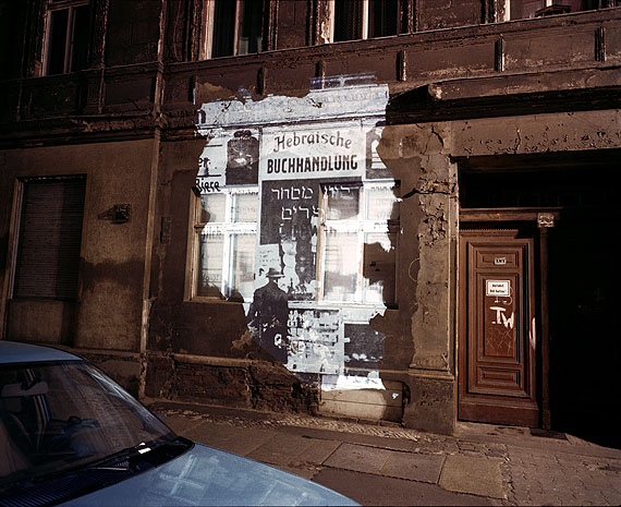 Slide Projection of former Hebrew Bookstore © Shimon Attie courtesy of the artist and Jack Shainman Gallery NY