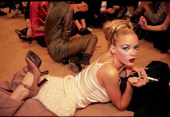 """Model James King backstage at a Karl Lagerfeld show. From """"At 16, A Model's Life,"""" published February 4, 1996 © Nan Goldin"""