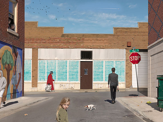 Julie Blackmon, Olive and Market Street, 2012. Archival pigment print, 35 x 49 inches. Courtesy Robert Mann Gallery