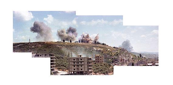 Akram ZaatariSaida, June 6, 19821982/2006Composite image (C-print mounted on aluminum dibond), video, sound127 x 250 cm, 4 mins (loop)Courtesy: Sfeir Semler Gallery