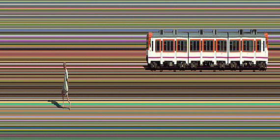 Jay Mark JohnsonEl Anarquista y el Tren, Valencia, Spain 2008 (Detail)Durst Lambda, film, aluminum110 x 518 cmEdition of 3courtesy the artist and Boutwell Draper Gallery, Sydney