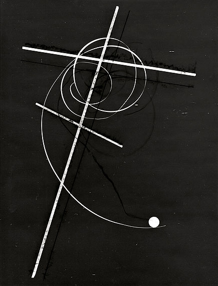 """Otto SteinertVERSPIELTER PUNKT. 1948Vintage. Silbergelatineabzug eines Photogramms. 39,8 x 30,4 cm. Rückseitig Nachlaßstempel: """"Estate Otto Steinert"""", darin mit Bleistift von Stefan Steinert signiert"""