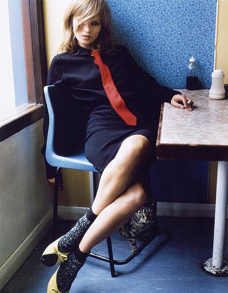 "Mario Testino, Kate Moss in Blue Café"", 2005. Chromogenic color print"