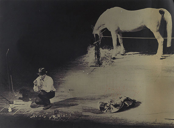 Joseph Beuys, Iphigenia, screenprint in black on gold PVC, based on a photograph from the performance Titus/Iphigenia, 1973.Estimate $1,500 to $2,500.