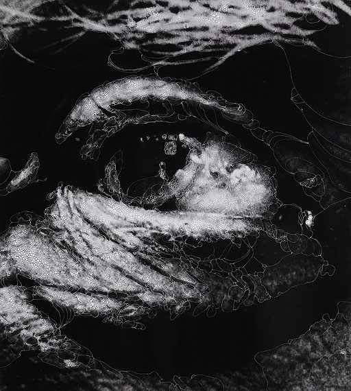 """Eye #4, 2012 (After Bill Brandt, """"George Braque's Eye, 1960"""")Unique hand-painted gelatin silver enlargement print with mixed media, 44 3/4 x 40 1/16 inches"""