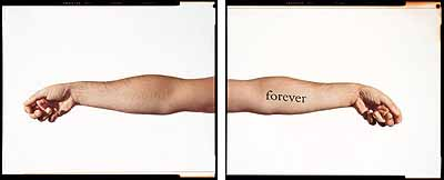 DOUGLAS GORDON, G. NEVER NEVER (WHITE MIRRORED) / D. NEVER NEVER (BLACK), 2000