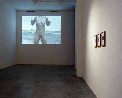 Barbed Hula by Sigalit Landau, to the right historical photographs of séances