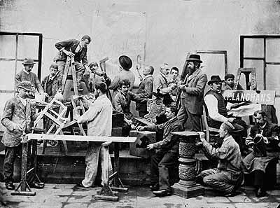 Jan Langhans . Self-portrait with Employees 1893
