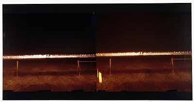 No 3. Permanent Daylight/stereo picture ( 18-26.jan. 2003)expozition time: two times 4 nights (5pm-8 am)caravan as camera,camera obscura, ciba chrome paperfrom two parts, 127 x 305 cm, mounted on plexy glass