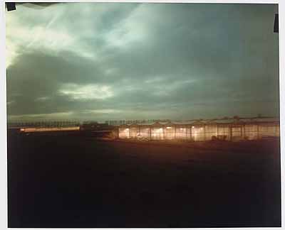 No 7. Permanent Daylight (17-21 jan. 2004.)expozition time: 4 nights (5.30-8 am)caravan as camera,camera obscura, ciba chrome paper127x152 cm  mouted on plexy glass