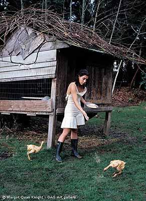 Margot Quan Knight  . Chicken Feed (The Garden), 2003 stampa lambda su alluminio 100 x 70 cm ed. 1/7