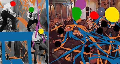 Fissures (Orange) and Ribbons (Orange, Blue): With Multiple: Figures (Red, Green, Yellow), Plus Single Figure (Yellow) in Harness (Violet) and Balloons (Violet, Red, Yellow, Grey), 2004Three dimensional digital archival print with acrylic paint on Sintra, Dibond, and Gatorfoam panels, diptych, 303,53 x 229,87 x 8,89 cm Deutsche Guggenheim © 2004 John Baldessari