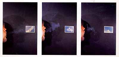 Cigar Smoke To Match Clouds That Are Different, 1972-73 (By Sight-Side View), 3 Teile, je 35,6 x 24,1 cm, 3 Type C-prints auf Platte © Sonnabend Gallery, New York