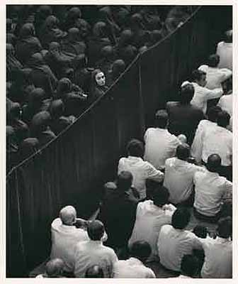 Shirin Neshat  2000 Production Still Video/Sound Installation, black & white, Duration: 10 minutes Edition of 6 + 1AP © Shirin Neshat Courtesy Gladstone Gallery