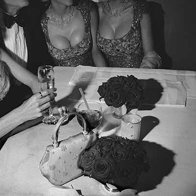 Larry Fink, Hugh Heffner, Oscar Party, Hollywood, CA, March 2002. Copyright the artist, courtesy of the Stephen Cohen Gallery