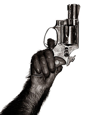Monkey With Gun, New York, 1992117x147 cm - (46x58 in)C-PrintEdition of 10
