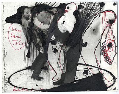 Arnulf Rainer / Dieter Roth: Bevor sie zu malen beginnen R. u. R. ihre Bäuche zu messen, 1975 © Atelier Arnulf Rainer