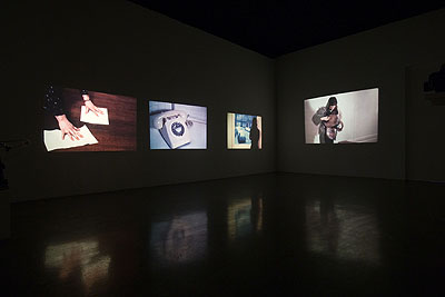 David Lamelas 'Film Script (Manipulation of Meaning)', 1972 16mm filmloop, 10 minutes, color, silent 3 slide projectors with 70 slides each Edition of 3 + 1 a.p. Installation view at Monika Sprüth Philomene Magers, Munich