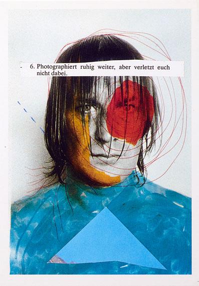 """Martin Kippenberger""""6) Photographiert ruhig weiter, aber verletzt euch nicht dabei"""", in: Martin Kippenberger, Sand in der Vaseline, Brasilien: s. n. 1986.© Estate of Martin Kippenberger, Galerie Gisela Capitain, Köln"""