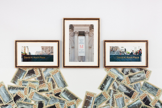 The Business Behind Art Knows the Art of the Koch Brothers, (detail), 2014, 3 color inkjet photos, overall triptych framed :37 x 99 1/2 x 1 3/8 in. (94 x 252.7 x 3.5 cm) frame: 2 @ 20 5/8 x 33 x 1 3/8 in. (6.7 x 83.8 x 3.5 cm) frame: 1 @ 37 x 27 1/2 x 1 3/8 in (94 x 69.9 x 3.5 cm) photo-collaged hundred dollar bills each: 8 x 16 1/2 in. (-20.3 x 41.9 cm) overall installation dimensions variable