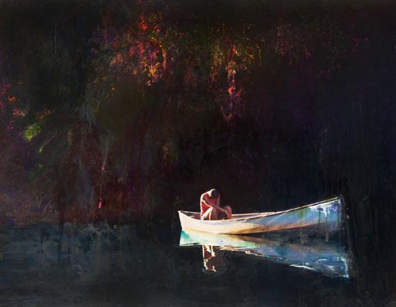 """o.T., aus der Serie """"MYTHOLOGIES"""", mit Tusche übermalter C-Print, 130 x 150 cm, 2009/15 © Esther Teichmann"""
