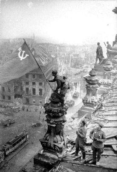 Yevgeny Khaldei. The Victory Banner over the Reichstag. Berlin, Germany, 1945