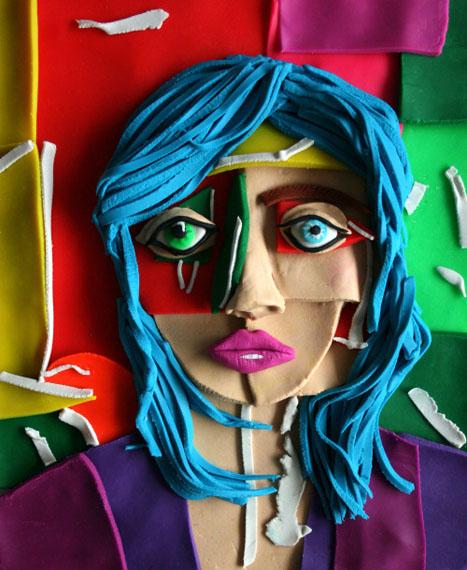 Original photograph: Portrait with Blue Hair, 2013 by Daniel Gordon rendered in Play-Doh © Eleanor Macnair