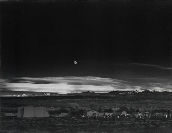 Ansel Adams, Moonrise, Hernandez, New Mexico, mural-sized silver print, 1941, printed 1950s. Estimate $200,000 to $300,000.