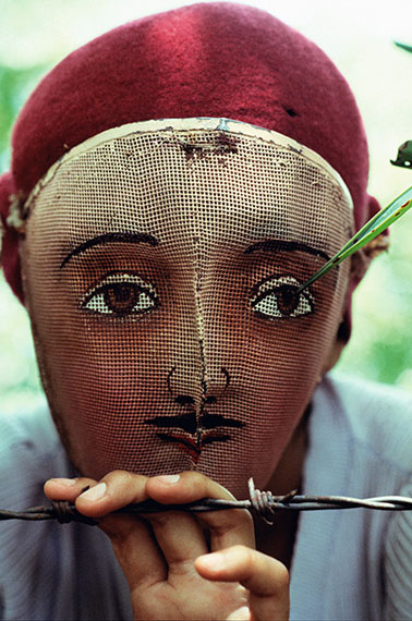 Traditional Indian dance mask from the town of Monimbo, adopted by the rebels during the fight against Somoza to conceal identify. Nicaragua, 1978© Susan Meiselas/Magnum Photos