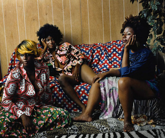 Les Trois Femmes Noires, 2006 c print Ed. 1/5 Sheet Size: 56 1/4 x 65 1/4 in. Image Size: 47 1/2 x 56 3/4 in.© Mickalene Thomas