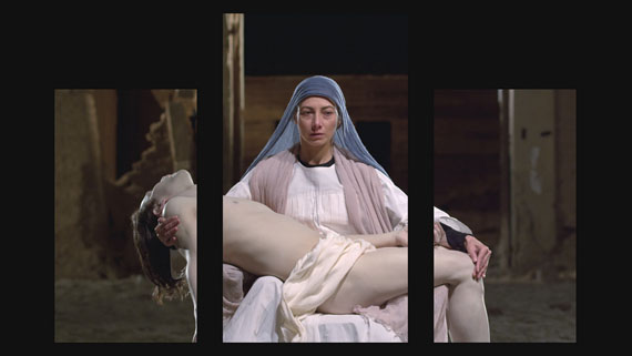 Bill Viola, Mary, 2016, video triptych; Executive Producer, Kira Perov; Photo courtesy Blain|Southern