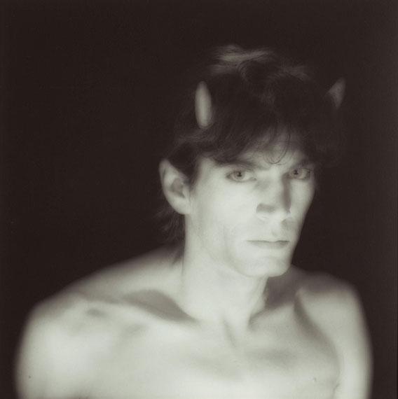 Lot 102Robert Mapplethorpe (1946-1989)Self-Portrait with Horns, 1985Gelatin silver print$35,000-55,000