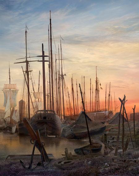 Hiroyuki Masuyama, Greifswalder Hafen (nach Caspar David Friedrich, 1820), 2009, LED Light Box, Auflage 5, 94x74x4 cm