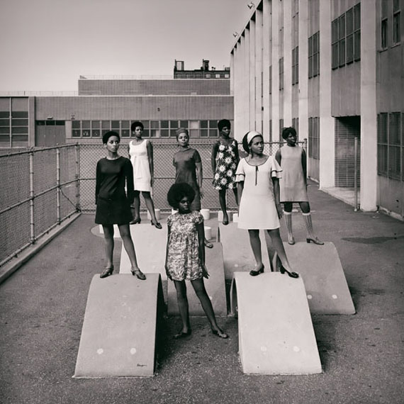 Kwame Brathwaite, Untitled (Photo shoot at a school for one of the many modeling groups who had begun to embrace natural hairstyles in the 1960s), c. 1966, archival pigment print,15 x 15 in (38.1 x 38.1 cm). Courtesy the artist and Cherry and Martin, Los Angeles.