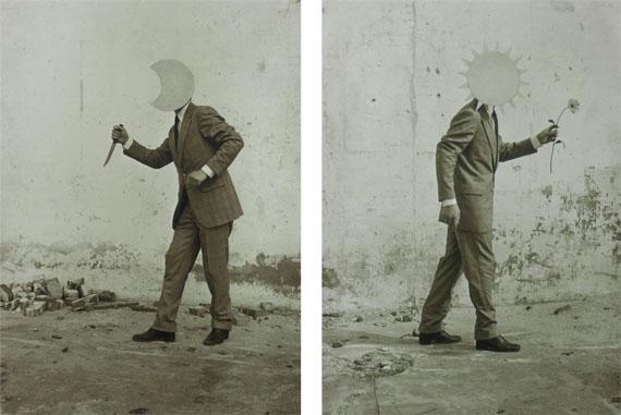 Pieter Laurens Mol >>Table of Contents<< 1980, 2 b/w silver gelatin prints, light grey synthetic enamel paint, diptych, image size each 16 x 22,2 cm, unique, vintage © Pieter Laurens Mol, courtesy Parrotta Contemporary Art