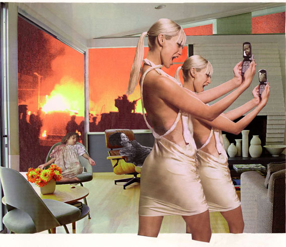 Martha Rosler, Photo-Op, 2004, from the series House Beautiful: Bringing the War Home, New Series. Photomontage. Artwork © Martha Rosler; image courtesy of the artist and Mitchell-Innes & Nash, New York