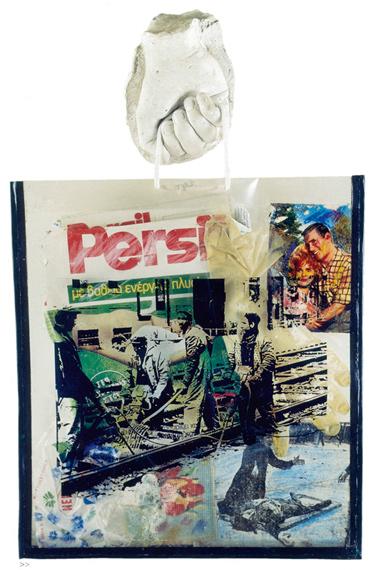 Jannis Psychopedis, Consumer Society, 1974, mixed media, 70×100 cm.