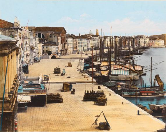 Venice, Riva degli Schiavoni waterfront with Carlo Naya's studio, Print 1868 – 1893albumen paper print mounted on card, hand coloured