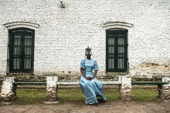 "Adama Delphine Fawundu, ""Black Like Blue in Argentina,"" 2018, Archival pigment print on canvas."