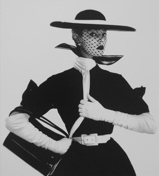 Irving PennB&W Fashion with Handbag (Jean Patchett), 1950Silver gelatin print6 7/10 × 5 9/10 in, 17 × 15 cmEdition of 14Atlas Gallery, London