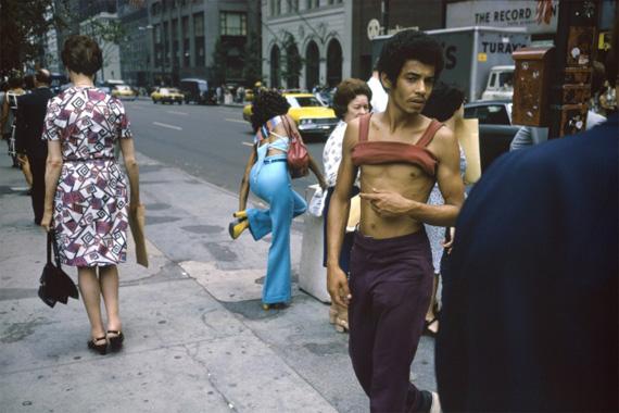 Joel MeyerowitzNew York City, 42nd St. and Fifth Ave. , 1974Dye transfer print15 1/2 × 23 1/2 in, 39.4 × 59.7 cmEdwynn Houk Gallery, New York