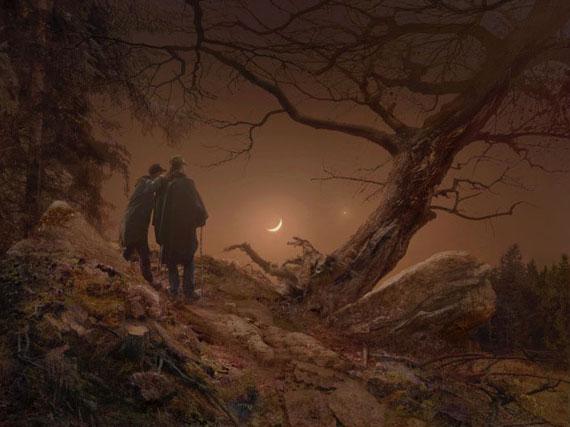 """Hiroyuki Masuyama""""Zwei Männer in Betrachtung des Mondes"""""""