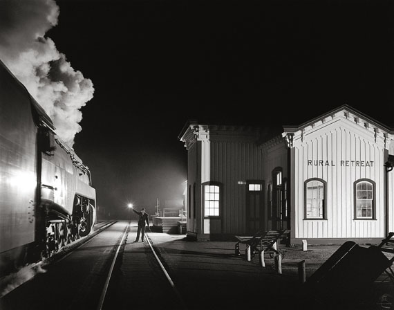 TRAIN NO. 17, THE BIRMINGHAM SPECIAL, MOVING WEST, GETS A HIGHBALLAT RURAL RETREAT, VIRGINIA© O. Winston Link / O. Winston Link Museum, Roanoke, Virginia