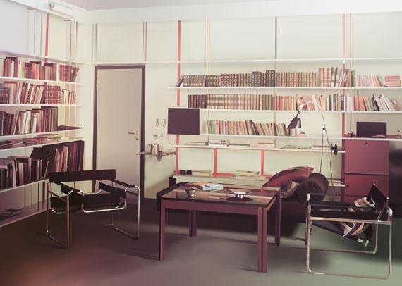 Adrian Sauer: Raum für Alle - Director's house Gropius, after an AGFA color photograph from 1926 or 1927found in the Bauhaus Archive Berlin, 120 cm x 169 cm, Digital C-Print, Framed, 2015© Adrian Sauer / VG Bild-Kunst, Bonn, 2019.