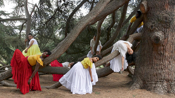 Carolina Caycedo, Still from Apariciones / Apparitions, 2018. Single-channel HD video, color and sound. 9:11 min. With: Marina Magalhaes (Choreography), Isis Avalos, Samad Guerra, Celeste Tavares, Bianca Medina, Jose Aviles, and Natali Miciche. Commissioned by The Huntington Library, Art Museum, and Botanical Gardens, and the Vincent Price Art MuseumCourtesy of the artist