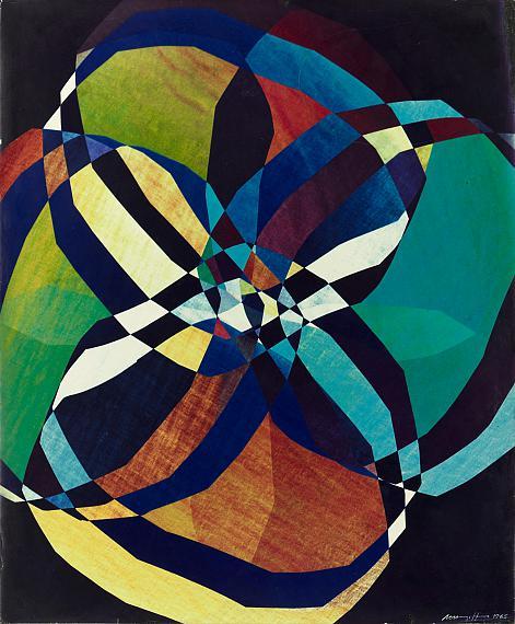 Marta HoepffnerMechanische Blume II (Dunkelfeld), 1965 Farbinterferenzbild in polarisiertem LichtAgfacolorpapier 60 x 49,6 cm© Estate Marta Hoepffner