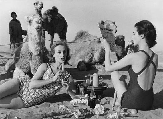 WILLIAM KLEINTatiana + Marie Rose + Camels, Morocco, 1958 (Vogue)Gelatin Silver Print