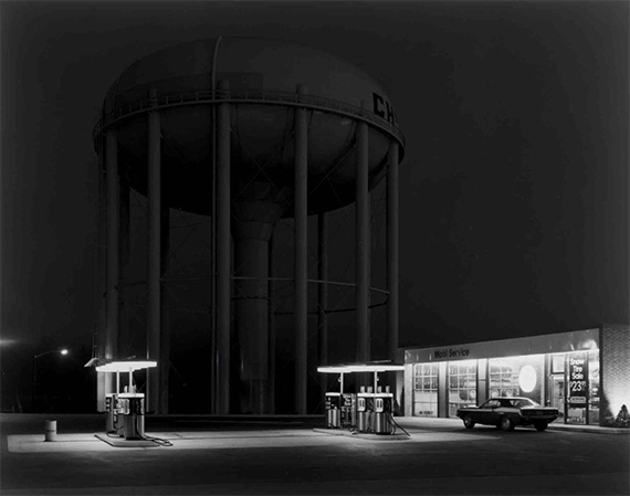 George Tice, Petit's Mobil Station and Watertower, Cherry Hill, New Jersey, 1974.