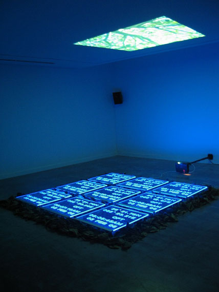 Mohammed Kazem, Directions, 2005. Video installation, engraved acrylic panels, LED light, leaves, video, variable dimensions. Courtesy of the artist.