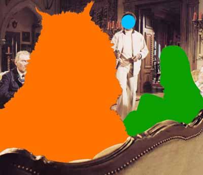 Beast (Orange) Being Stared At: With Two Figures (Green, Blue), 2004Three dimensional digital archival print with acrylic paint on Sintra, Dibond, and Gatorfoam panels303.53 cm x 351.79 cm x 8.89 cm Deutsche Guggenheim © 2004 John Baldessari